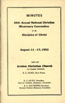 Minutes 36th Annual National Christian Missionary Convention of the Disciples of Christ